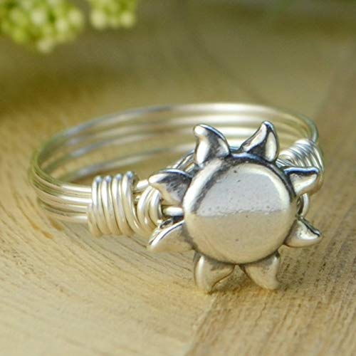- Sterling Silver Sun Bead with Sterling Silver, Yellow or Rose Gold Filled Wire Wrapped Ring- Custom made to size 4-14