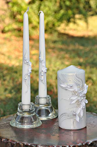 - Magik Life Unity Candle Set for Wedding - Wedding décor & Wedding Accessories - Candle Sets - 6 Inch Pillar and 2 10 Inch Tapers - Best Unity Candle