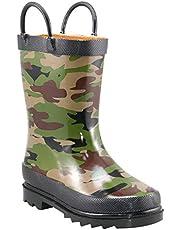 حذاء المطر المطبوع المقاوم للماء للأولاد من ويسترن شيف بمقابض سهلة السحب