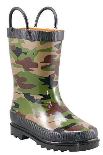 Western Chief Boys Waterproof Printed Rain Boot with Easy Pull On Handles, Camo, 11 M US Little Kid