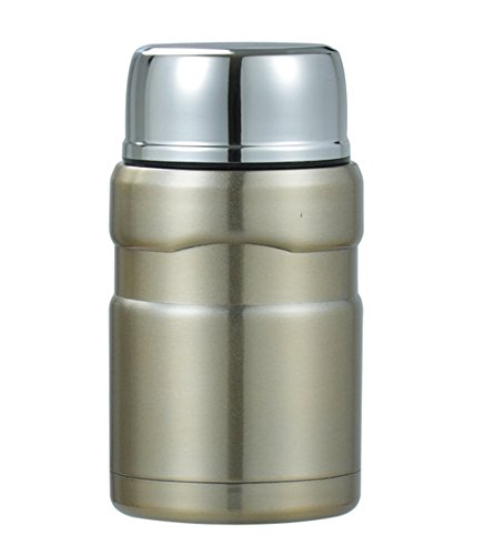 Folding Thermos Stainless Steel Bottle (Food Thermos, Stainless Steel, Vacuum Insulated Soup or Food Jar, 18.6-Ounce (Gold) with Folding Spoon, Wide Mouth, Ideal for Adults or Kids Lunch. by – Tyeideas)
