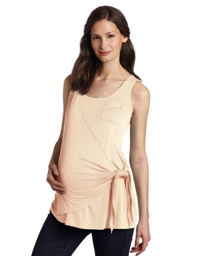 (Maternal America Women's Maternity Side Wrap Tank Top, Peach, Large )