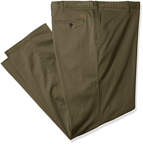 Dockers Men's Big and Tall Washed Khaki Flat Front Pant, Olive (Stretch), 48W x 30L