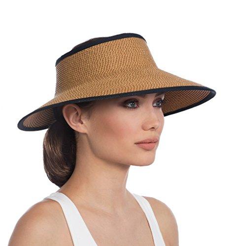 Eric Javits Luxury Fashion Designer Women's Headwear Hat - LIL Squishee Visor - Natural/Black by Eric Javits