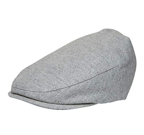 Born to Love - Baby Boy's Hat Vintage Driver Caps (XL 56), Grey Herringbone