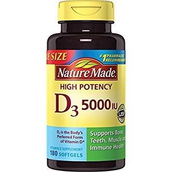 Nature Made Vitamin D3 5000 IU Ultra Strength Softgels Value Size 2 Pack