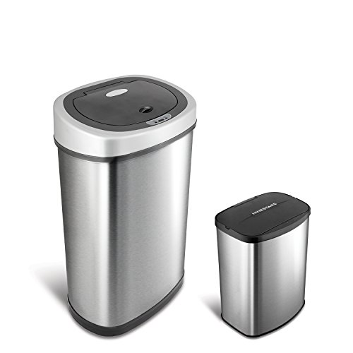 - NINESTARS CB-DZT-50-9/8-1 Automatic Touchless Infrared Motion Sensor Trash Can Combo Set, 13 Gal 50L & 2 Gal 8L, Stainless Steel Base (Oval & Rectangular, Silver/Black Lid)