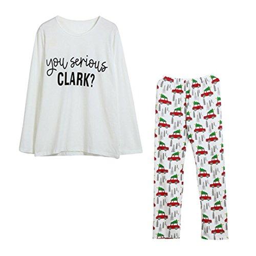 Tloowy Xmas Clearance! Christmas Matching Family Pajamas Cartoon Print Women Men Kids Sleepwear Set