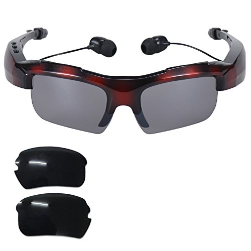 Bluetooth Glasses Headphone Stereo Music Bluetooth Sunglasses Polarized Glasses Wireless Headset Microphone Compatible with Android iOS Cell Phones Samsung Galaxy Note 9 8 5 S9 S8 S7 S6 Edge Red