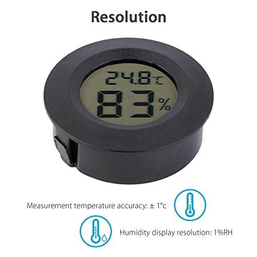 EEEkit Hygrometer Thermometer Digital LCD Monitor Indoor Outdoor Humidity Meter Gauge for Humidifiers Dehumidifiers Greenhouse Basement Babyroom, Black Round (5-pack) by EEEKit (Image #3)