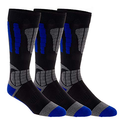 - 3 Pack LISH Men's Ski Socks - Over the Calf Thermal Snow Socks for Snowboarding and Skiing (Blue, M/L)