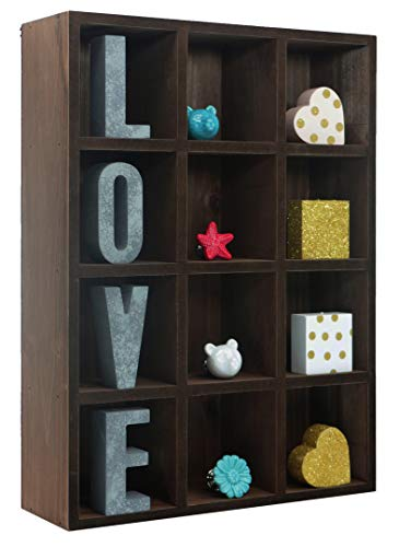 Space Art Deco 12 Compartment Shadow Box Display Shelf/Organizer for Wall or Table/Desk, Dark Brown Wood Finish - Shadow Box Decor - Item Display Unit - Memorabilia Holder (12 -