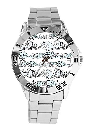 Small Waves Design Analog Wrist Watch Quartz Silver Dial Classic Stainless Steel Band Women's Men's ()