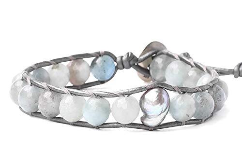 Chan Luu Aqua Mineral Stone and Grey Simulated Pearl Beaded Mix Silvertone Single Wrap Bracelet Style