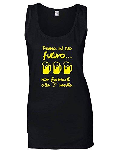 Bevande Pensa Donna T Canottiera Tuo Sballo T1040 Nera Futuro shirtshock Al 14Azqg