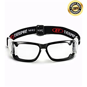 EVERSPORT Sports Goggles Protective Basketball Glasses Safety Goggles for Adults with Adjustable Strap for Basketball Football Volleyball Hockey Rugby 1606 (Black)