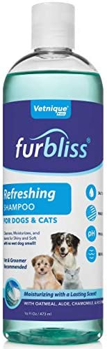 VETNIQUE LABS Furbliss Dog Shampoo with Essential Oils, Leaves No Wet Dog Smell, Cleans and Deodorizers Coat, Tear Free Smelly Dog Relief Refreshing Scent