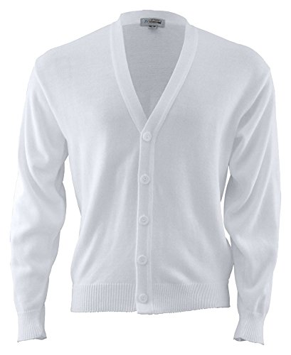 Edwards Garment Men's Machine Washable V Neck Cardigan, WHITE, Medium