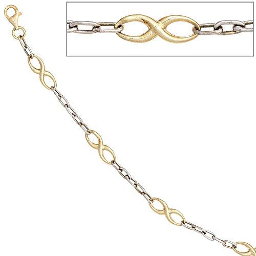 JOBO bracelet en or jaune et blanc 333 mousqueton 18 cm