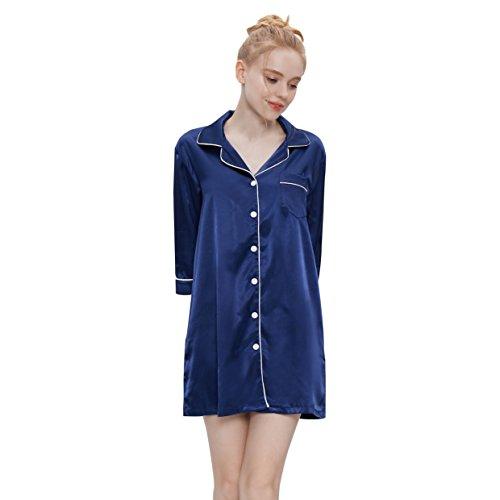 HeartFor Women's Sleepwear Medium Sleeves Nightshirt Satin Pajama Top Boyfriend Shirt Button-Front Nightie Sleepwear(Dark Blue, XL) ()