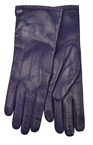 Coach Womens 83875 Plum Purple Leather Cashmere Gloves (6.5)