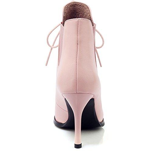 Nio Sju Äkta Läder Womens Spetsig Tå Stilett Häl Snörning Handgjorda Fotled Tossor Rosa