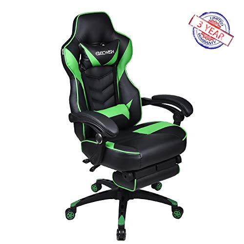 Hardwood Game Chair - Ergonomic Computer Gaming Chair, Large Size PU Leather High Back Office Racing Chairs with Widen Thicken Seat and Retractable Footrest and Lumbar Support Video Game Chair 170 Degree Reclining (Green)