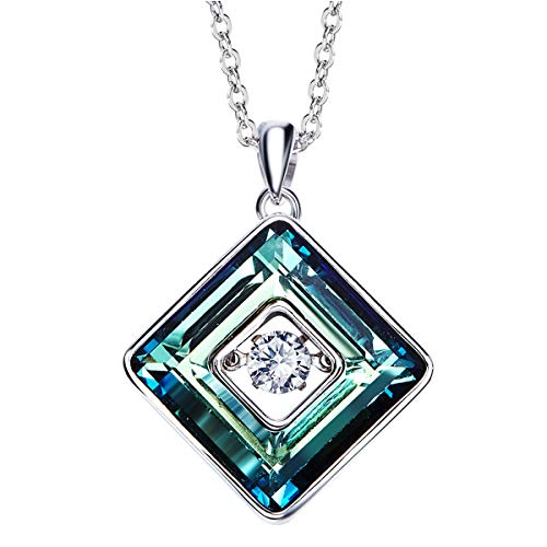 SNOWH Pendant Necklace Sterling Silver Made with Swarovski Crystals Ladies Rhinestone Jewelry Necklaces Square Blue Wedding Valentine's Day Birthday for ()
