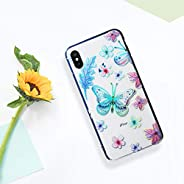 Luxmo Funda Case para iPhone Xs Max Protector Candy Tornasol, color Mariposas