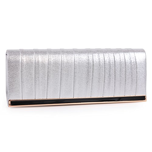 Metal Damara Bag Silver Frame Handbag Evening Sparkling Cocktail Clutch PrwrqxF05