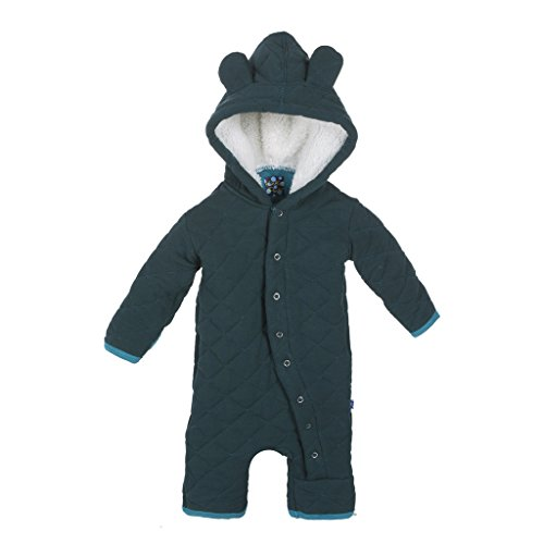 (KicKee Pants Boys Quilted Hoodie Coverall with Sherpa-Lined Hood, Pine with Bay, 3-6 Months)