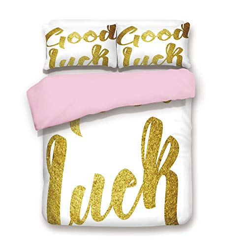 - iPrint Pink Duvet Cover Set,Full Size,Good Luck Wish Note Hand Written Lettering Greeting Card Concept,Decorative 3 Piece Bedding Set with 2 Pillow Sham,Best Gift for Girls Women,Gold