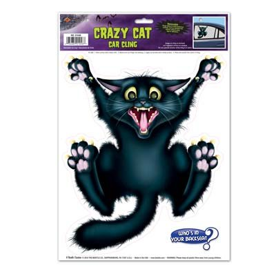 Crazy Cat Car Cling Party Accessory (1 count) (1/Sh) ()
