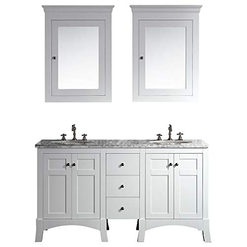 Eviva EVVN514-60WH New York 60 Bathroom Vanity, with White Marble Carrera Counter-top, Sink Combination,