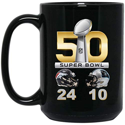 Denver Broncos Coffee Mug Super Bowl 50 Final Score 15 oz Black Ceramic Cup Great for Tea and Hot Chocolate L 50 NFL NFC AFC Football Perfect Unique Gift for any Broncos Fan
