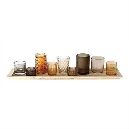 - Christina Home Designs Set of 10 Glass Votives with Wooden Tray measures 22