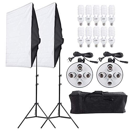 Andoer Studio Photography Lighting Kit Portrait Product Light Video Equipment (Softbox + 5in1 Light Socket + 10pcs 45W Bulb + Tripod Stand + Carrying Bag) by Andoer