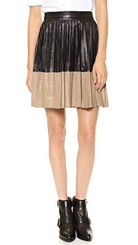 (Robert Rodriguez Women's Pleated Color block Leather Flared Skirt, Black, 8)