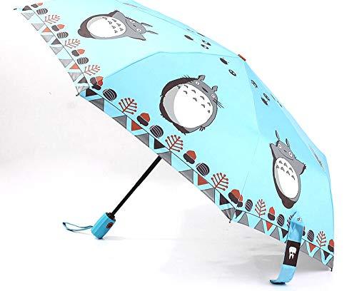 LFS My Neighbor Totoro Creative Design Anti-UV Sun Rain Umbrella Triple Folding UV Protected Parasol Automatic Telescopic Umbrella UV Protection Daily Use