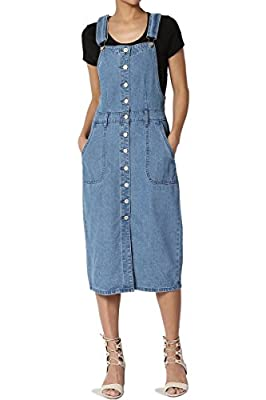 TheMogan Junior's Gingham Check Linen Blend Woven Overall Mini Dress