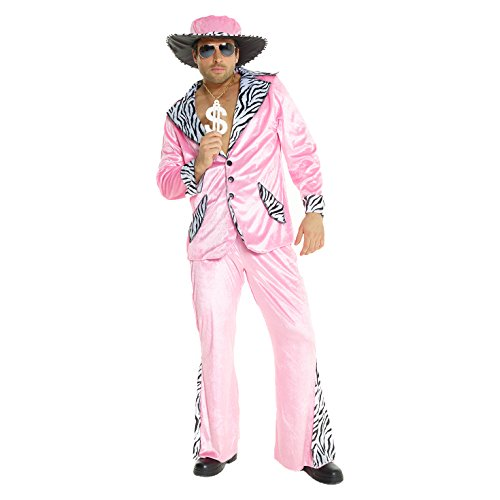 Mens Pimp Daddy Costume Pink Velvet Suit for Bachelor Stag Party Fancy Dress -