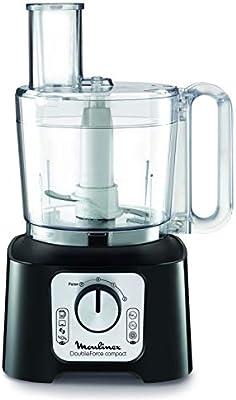 Moulinex FP546810 Robot de Cocina 800 W 2 en 1, Compacto con 6 velocidades, con Vaso y Jarra batidora y Kit Accesorios, 1.25 litros, Negro: Amazon.es: Hogar