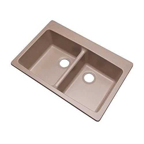 Dekor Sinks 89015Q Westwood Composite Granite Double Bowl Kitchen Sink, 33-Inch, Desert Sand