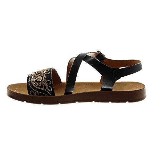 Angkorly Zapatillas Moda Sandalias Correa de Tobillo Bimaterial Mujer Bordado Dorado Correas Cruzadas Plataforma 2 cm Negro