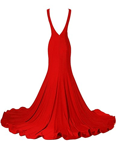 Bess Profonde Sexy Des Femmes De Mariée Sirène V Backless Robes De Bal De Soirée Longue Rouge