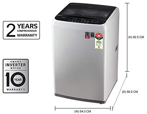 LG 7 kg Inverter Fully-Automatic Top Loading Washing Machine (T70SPSF2Z, Middle Free Silver) 2021 June Fully-automatic top-loading washing machine; 7.0 kg capacity Energy Rating: 5 Star Warranty: 2 years on product, 10 years on motor