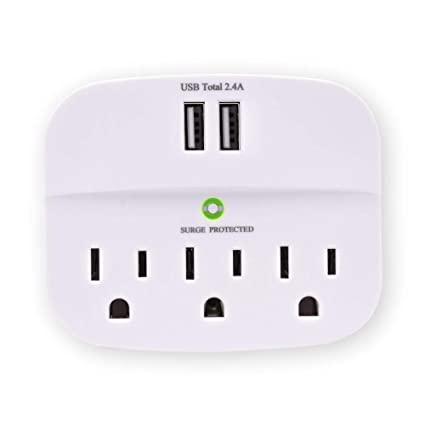 CRST 3-Outlet Surge Protector Wall Tap Adaptor, 3 Outlet Extender Multiple  Plug Socket Splitter with Dual USB Charging Ports ETL Listed for Home,