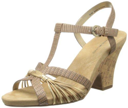 Bandolino Womens Bellwind Synthetic Wedge Sandal Natural Gold JtKui6S7