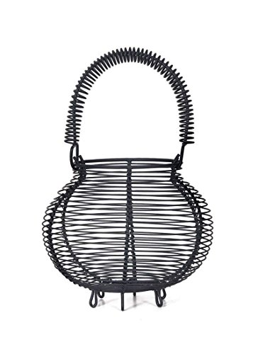 Garden Trading Brompton Egg Basket in Grey Carbon Steel Holds 16 Eggs | Kitchen Storage Wire Egg Holder with Handle by Garden Trading