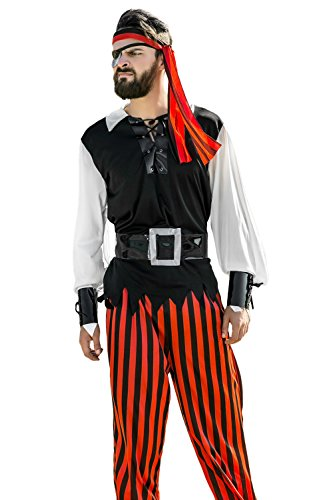 Adult Men Caribbean Pirate Costume Corsair Sea Rover Buccaneer Dress Up Role Play (Medium/Large, Red, Black, White)